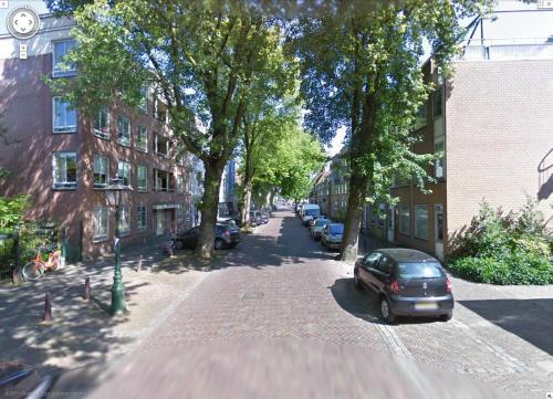 Kaiserstraat met bomen in Google Maps Streetview